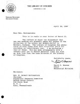 Image of Letter from Library of Congress re: Moravian historical documents (1967)