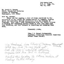 Image of Letter, Hottenstein to Mearns, L of C, re: Zinzendorf manuscript (1967)