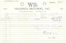 Image of Frederick Brothers invoice for DeTurk house Dutch door (1974)