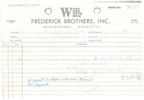 Image of Frederick Brothers invoice for DeTurk House shutters (1974)