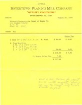 Image of Boyertown Planing Mill invoice for DTH window sash & door molding (1974)