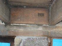 Image of DeTurk, mortised header securing tenon of doorway hood outlooker (2009)