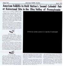 Image of Keim Farmstead, article re: Colonial American Folklife Fair (1973)