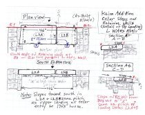 Image of Jacob Keim House, reconstructed cellar entry, field notes drawing #2 (2011)