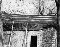 Image of Bridge Keeper's House, W elevation detail with roof covering  (c.1965)