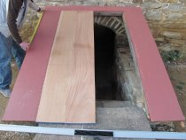 """Image of """"Image #2, cellar cap rakes, header, and door boards."""" - 7478"""
