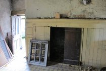 Image of Douglass house kitchen fireplace and doorway in gable-end wall