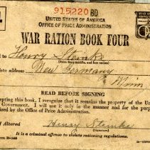 Image of WWII Ration book-Henry Steinke