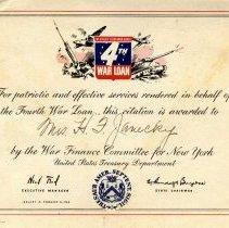 Image of Reward of Merit - 4th War Loan citation to Mrs. H. F. Janecky