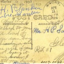 Image of 1916 postcard to H. P. Sanken from Herman