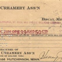 Image of Check, Bank - Biscay Co-Op Creamery Check #206