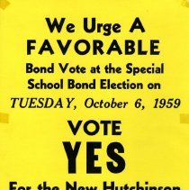 Image of Poster - Hutchinson High School bond election, 1959