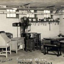Image of Print, Photographic - Manual Training room, Henry Hill School basement, Glencoe