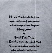 Image of Print, Photographic - Wedding of Randall & Nancy Brau Trocke, April 26, 1975