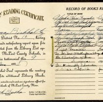 Image of Certificate, Achievement - Library reading certificate: LaVerna Birkholtz, 1938