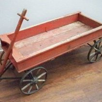 Image of Wagon - Red wooden farm wagon