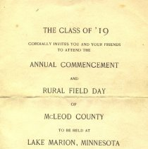 Image of Program - Class of 1919 Commencement Invitation and Program