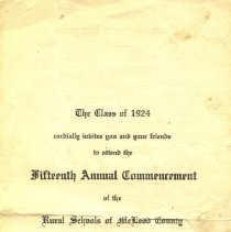 Image of Program - Class of 1924 Commencement Invitation and Program
