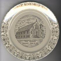 Image of Plate, Commemorative - Commemorative plate: St. John's Ev. Lutheran Church, Plato MN