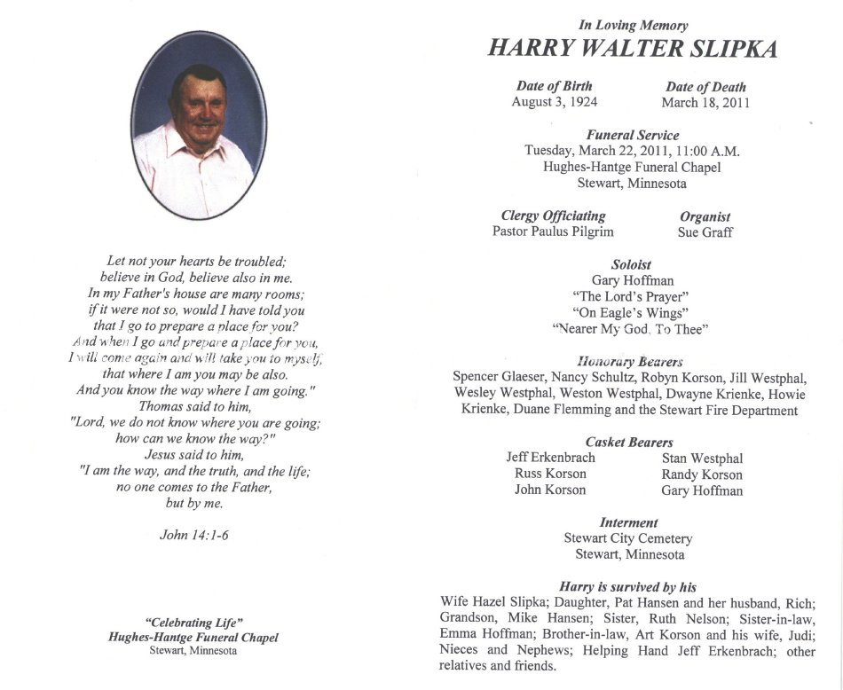 Card Mourning Harry Slipka
