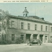 Image of Postcard - City Hall & Fire Department, Hutchinson, MN-postcard