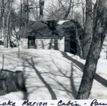 Image of Print, Photographic - Gaines log cabin at Lake Marion