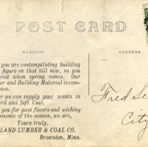 Image of Midland Lumber & Coal Co, Brownton, MN-postcard, reverse
