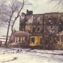 Image of Print, Photographic - Merrill School building fire, March 21, 1975