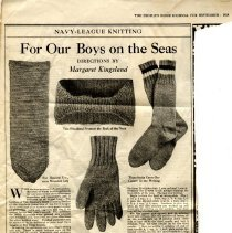 Image of Clipping, Magazine - Navy League Knitting, 1918