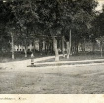 Image of Postcard - Central Square & Library, Hutchinson MN, 1910-postcard
