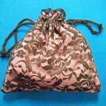Image of Purse - Pink and black lace purse