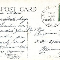 Image of R.R. Depot, Park and Yards, Glencoe, MN, reverse