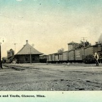 Image of R.R. Depot, Park and Yards, Glencoe, MN