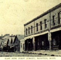 Image of Postcard: east side of First Street, Winsted, Minn.