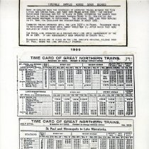 Image of Great Northern Railroad time schedules