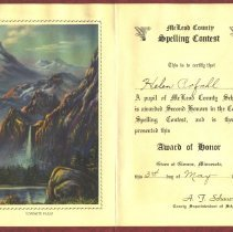 Image of Award - Spelling contest certificate for Helen Pofahl