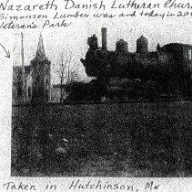 Image of Nazareth Danish Church & GN Locomotive, Hutchinson, MN