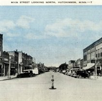 Image of Postcard: Main Street Looking North, Hutchinson, MN-postcard