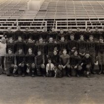 Image of Print, Photographic - 1920s Hutch football team, manager, coach & dog