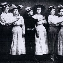 Image of Postcard - Women dressed in hats & paired as couples-postcard