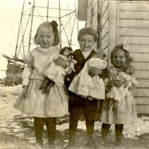 Image of Postcard - Unknown children with dolls-postcard