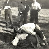 Image of Postcard - Two unknown men wrestling