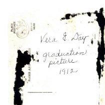 Image of Vera E. Day graduation-postcard, reverse