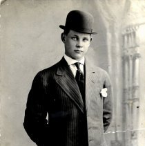 Image of Young Man in Suit & Bowler Hat-postcard