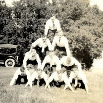 Image of Postcard - Pyramid of unknown men in shirts & ties-postcard