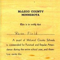 Image of McLeod County school award, 1947