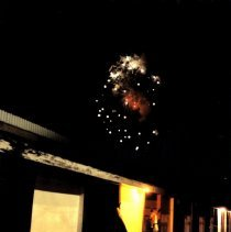 Image of Print, Photographic - Fireworks over Horse barn-last McLeod County Fair at old site