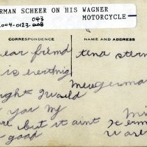 Image of Herman Scheer on his Wagner motorcycle-postcard, reverse