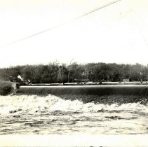 Image of Postcard c. 1912 of the Crow River dam, Hutchinson, MN