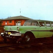 Image of Green 1957 model Fairmont A-34-postcard